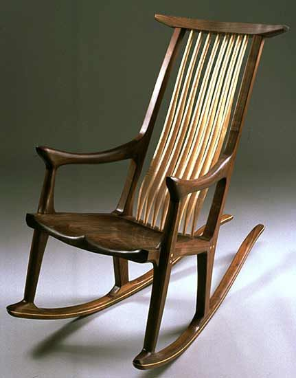 newport rocking chair revolving bd rocker by richard laufer in walnut with a sculpted seat and cherry spindle back