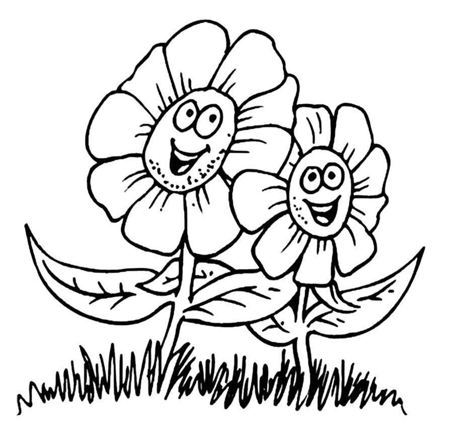 Happy Spring Flower Coloring Sheets For Kids