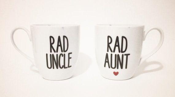 ✰Ð Rad #Aunt, Rad Uncle Mug #Set. Pregnancy #announcement. Pregnancy reveal. by http://etsy.me/2fXMDNu
