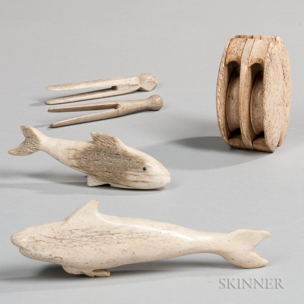 Five Carved Whalebone Items Sale Number 3023t Lot Number 1229 Skinner Auctioneers Carving Scrimshaw Whale