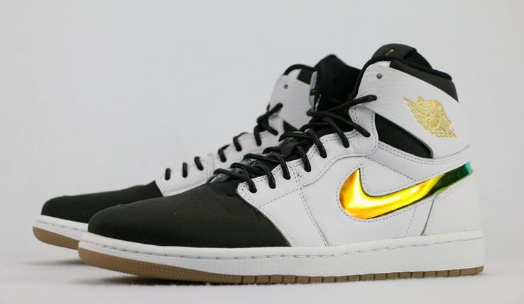 NIKE AIR JORDAN 1 RETRO HIGH NOUV WHITE BLACK LIGHT BROWN GOLD SWOOSH  819176 104 $170