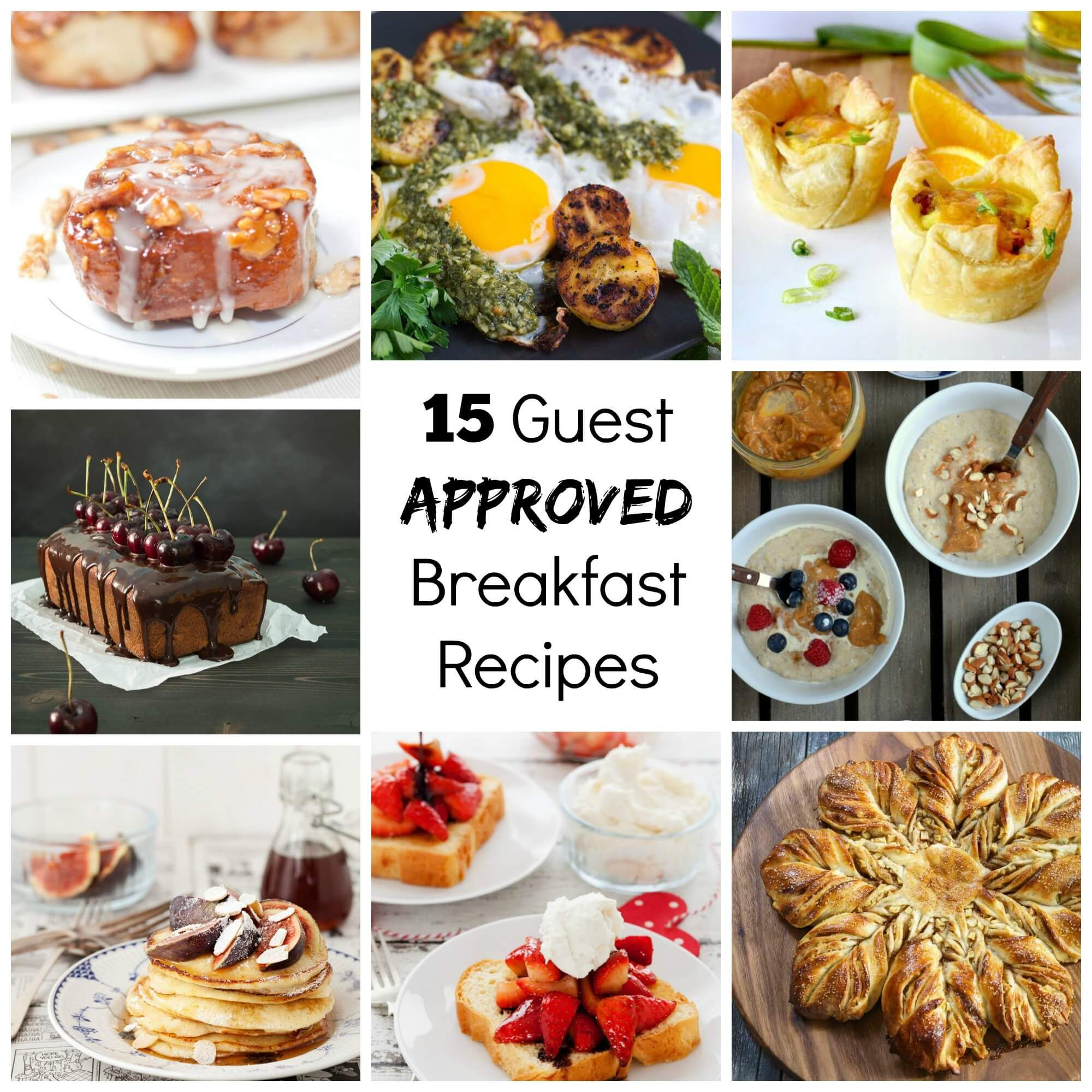 15 Guest Approved Breakfast Recipes that will take the stress off of hosting overnight guests. They are tried, true and guaranteed delicious!