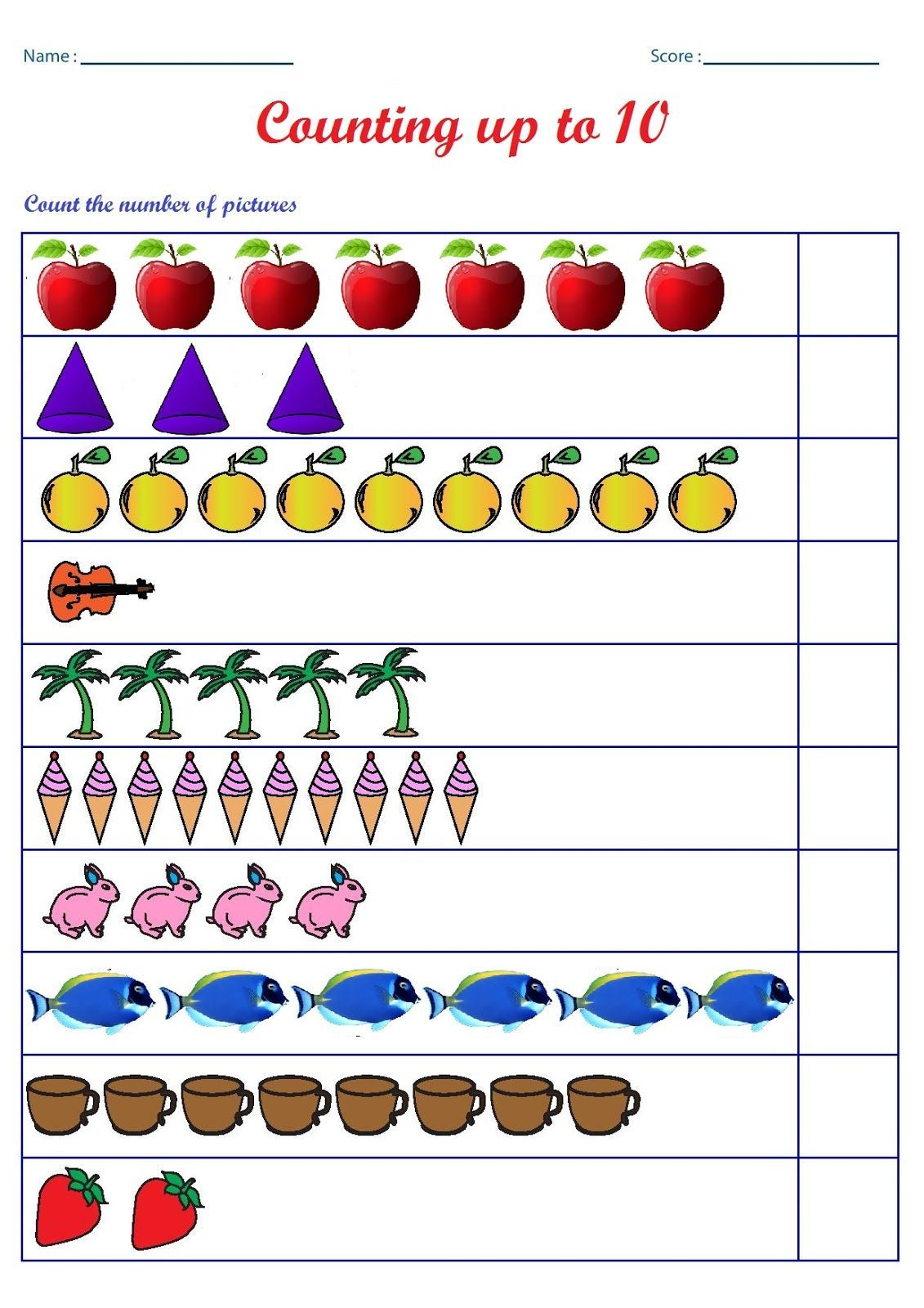 Counting To Ten Worksheets Kindergarten Worksheets English