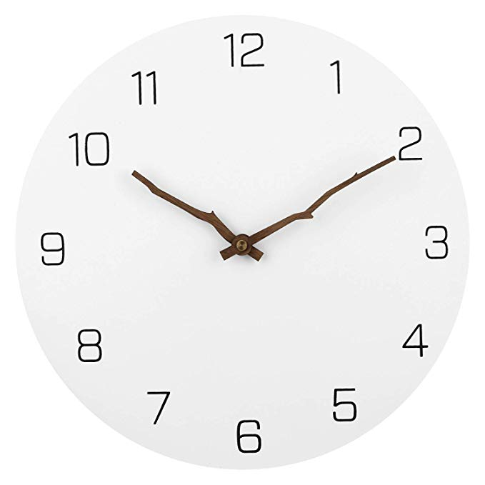 Amazon Com Jfeng Modern Simple Wooden Wall Clock White 12 Inch Round Silent Non Ticking Quartz Decorative Wall Clock Silent Wall Clock Minimalist Wall Clocks