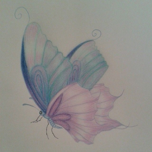 pencil butterfly and girls drawings to colour - Google Search