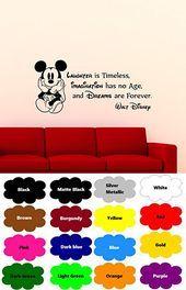 Mickey Mouse Wall Decal Walt Disney Quote Nursery Custom Cartoon Disney Vinyl Sticker Home Nursery Room Interior Art Decor Kids Girl Boy Room Mural Waterproof Vinyl Stick...