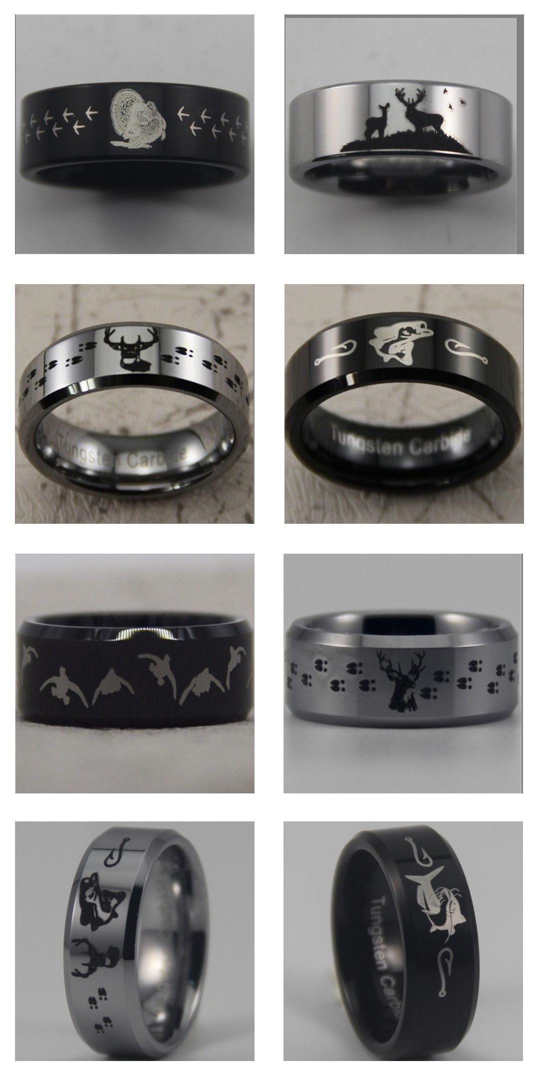 duck band wedding ring Hunting outdoor themed tungsten carbide rings Turkey catfish bass deer Mens Wedding Bands