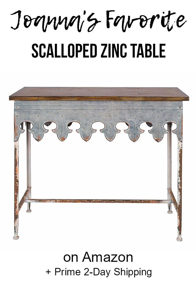 Joanna S Favorite Scalloped Table With Wood And Zinc On Get Free 2 Day Shipping If You Sign Up Prime Fixer Upper Side