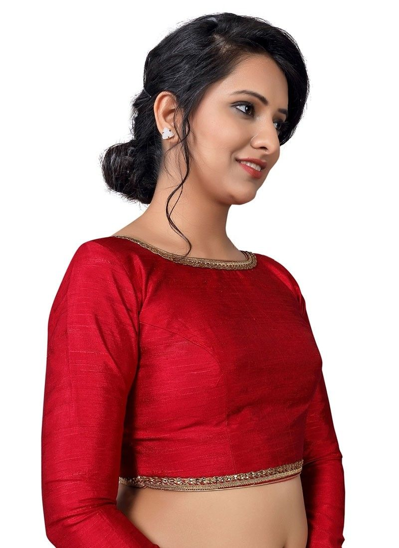 28286771156fc1 Red Raw Silk Ready-made Blouse