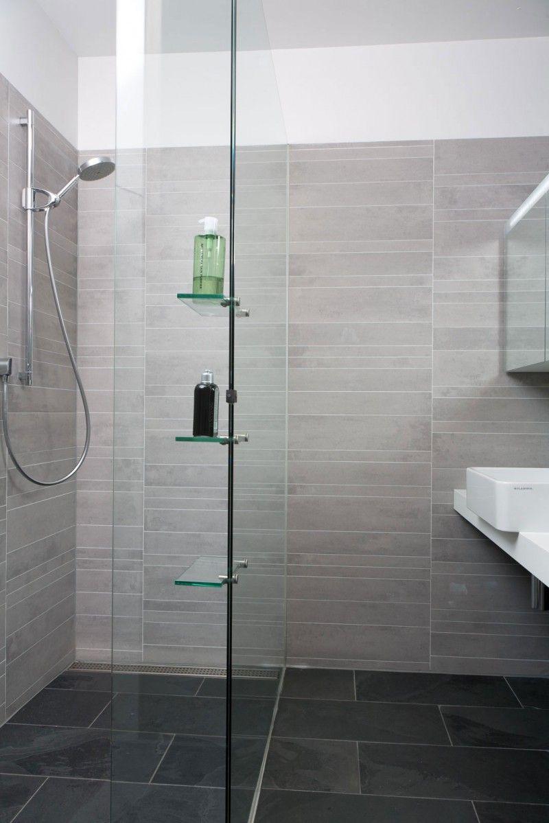 Grey tiles in bathroom - Beautiful Bathroom Design With Light Grey Tile Wall And Glass Shower Also Dark Slate Stone Floor