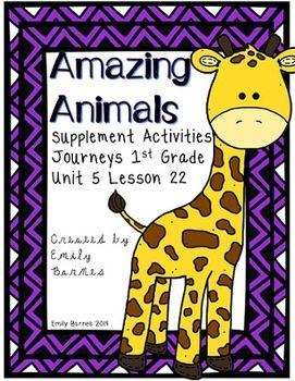 Amazing Animals Supplement Activities Journeys 1st Grade Lesson 22