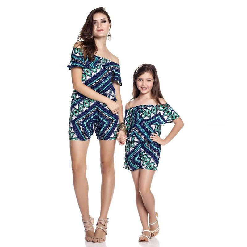 Mother /& Daughter Off Shoulder Short Dress Mommy /& Me Matching Clothes Outfits