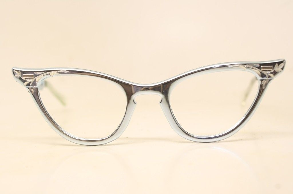 3a826b50be6 Small Unused Aluminum Vintage Pointy Cat Eye Glasses NOS - Cat eye glasses  - Vintage eyeglasses