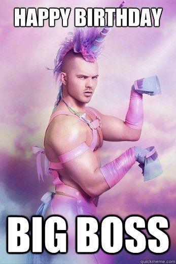 Happy Birthday Funny Meme For Guys Birthday Humor Unicorn Guy Glamour Shots