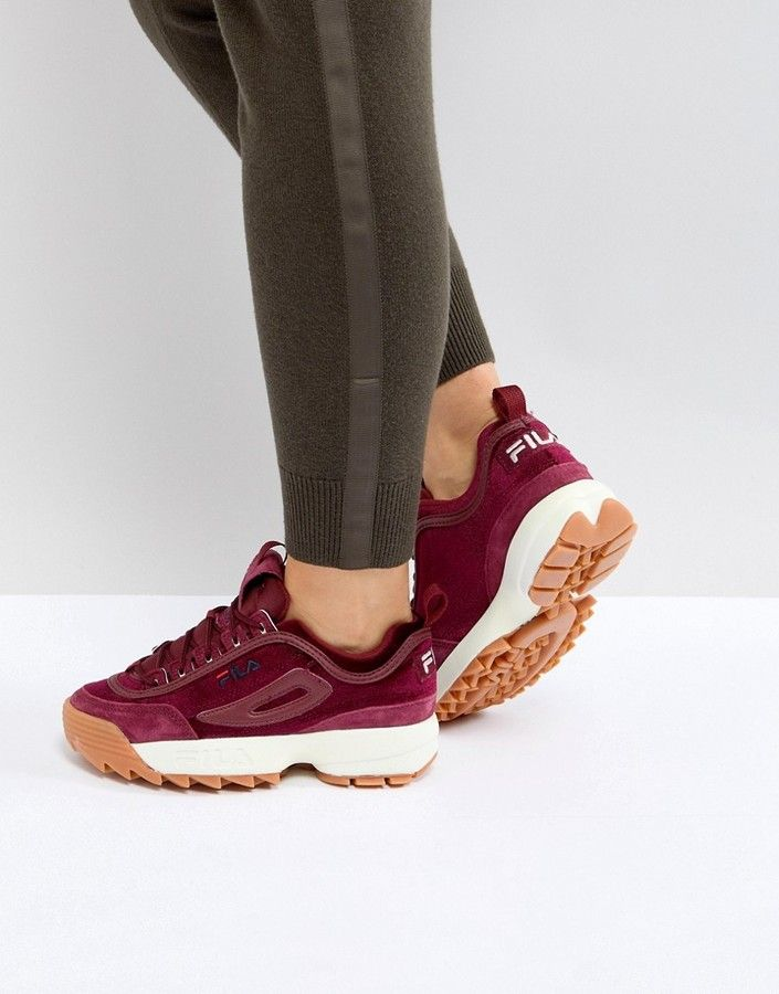 new style authorized site preview of Fila - Disruptor - Baskets en velours - Bordeaux | Burgundy ...