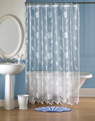 White Shower Curtains With Seashells