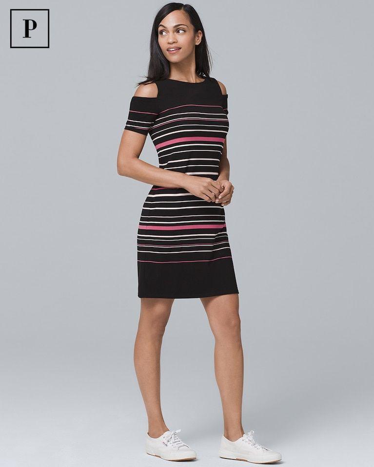 a1155a989e1c5 Women s Petite Cold-Shoulder Stripe Modern Jersey Knit Dress by White House  Black Market