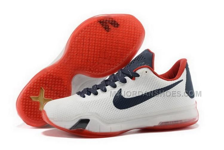 Buy Cheap Nike Kobe 10 2015 White Black Red Mens Shoes