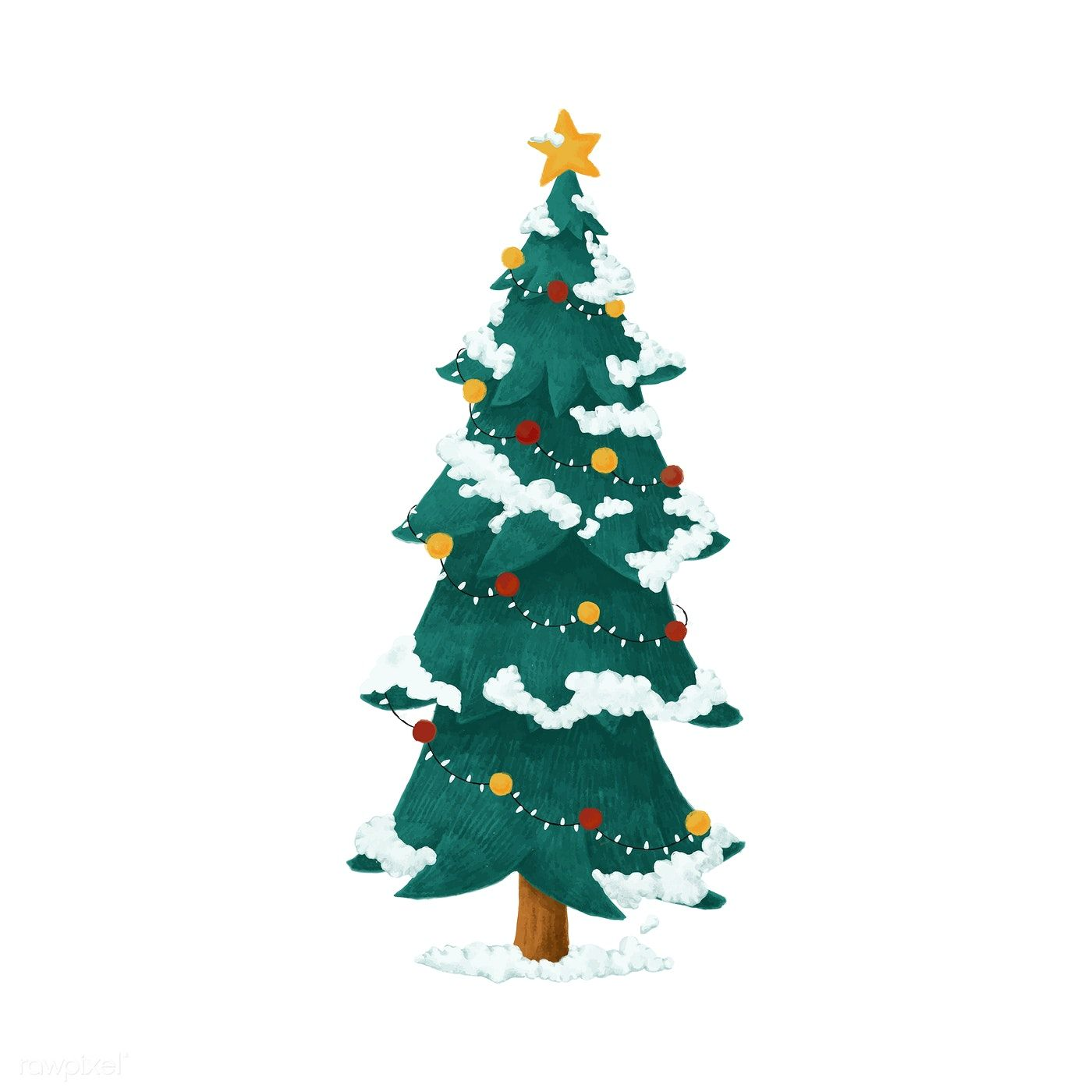 Christmas Tree Illustration.Hand Drawn Decorated Christmas Tree Illustration Free