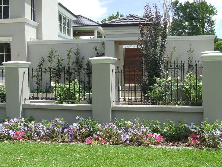 Stucco and wrought iron fences google search fencing for Stucco garden wall designs