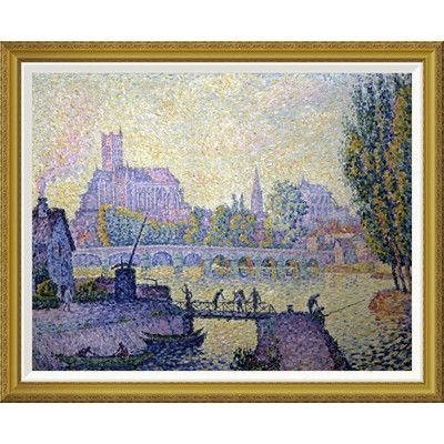 Global Gallery 'Bridge at Auxerre Le Pont Due Auxerre' by Paul Signac Framed Painting Print Size: