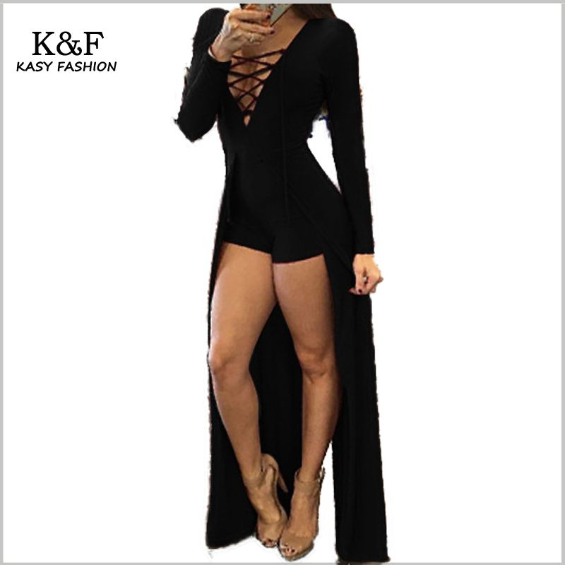 b96dd95054d KASY 2017 summer women solid black red bandage playsuit evening party  jumpsuit sexy v neck long sleeve jumpsuit with long tails  Affiliate