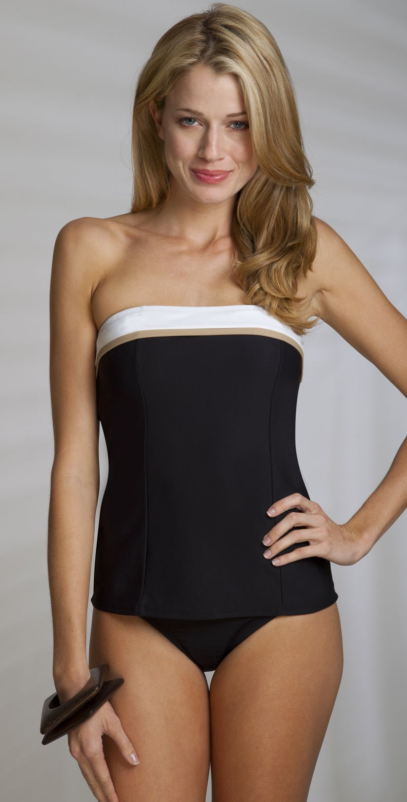 9c59eb0608f31 This Anne Cole 2013 Pique Colorblock black bandeau tankini top with white  and khaki band offers removable soft cups and removable neck strap.