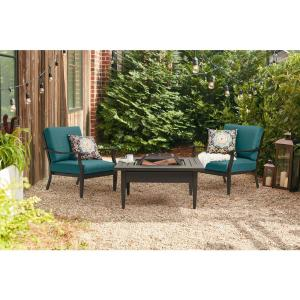 Hampton Bay Riley 3-Piece Metal Outdoor Sectional Set with ... on Riley 3 Piece Sectional Charleston id=64828