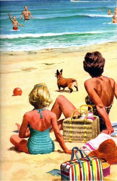Image result for funny postcards picnic on the beach Pinterest