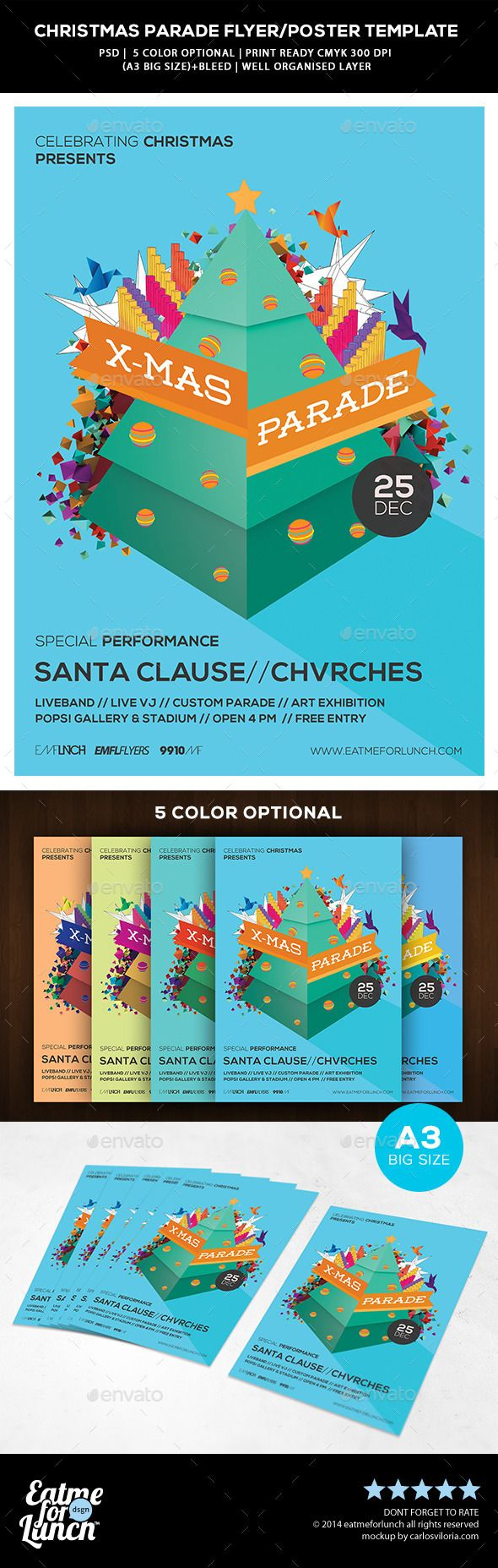 christmas parade flyer template by eatmeforlunch psd file a3 big