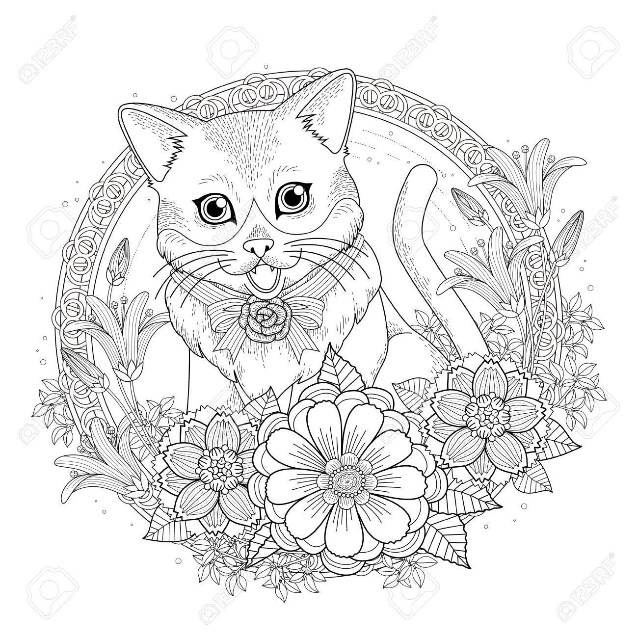 Adorable Kitty Coloring Page With Floral Wreath In Exquisite Kitty Coloring Animal Coloring Pages Coloring Pages [ 1300 x 1300 Pixel ]