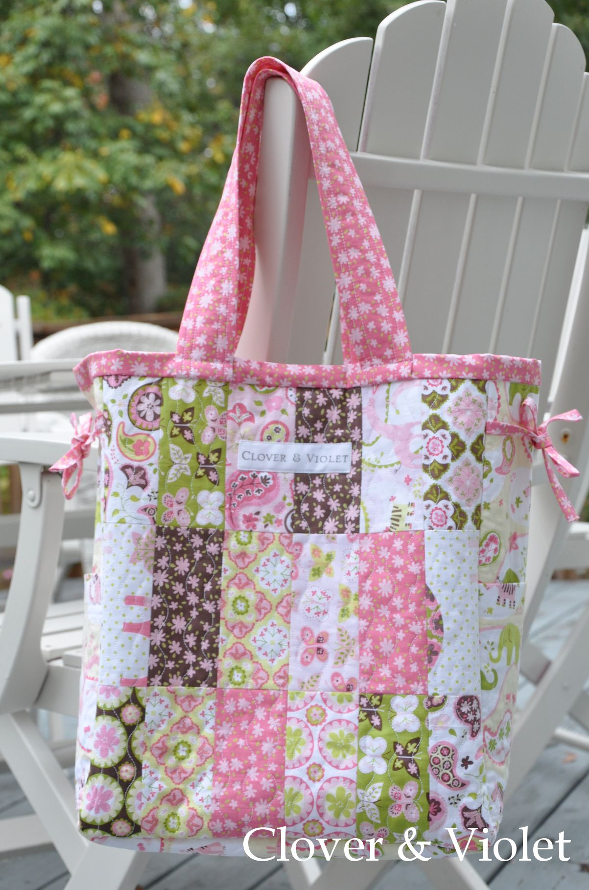 The Madeline bag made with Animal Parade fabric.
