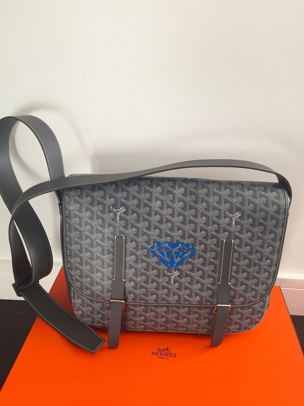 e98dae9b138f Authentic Gray Goyard Belvedere GM With Personalization