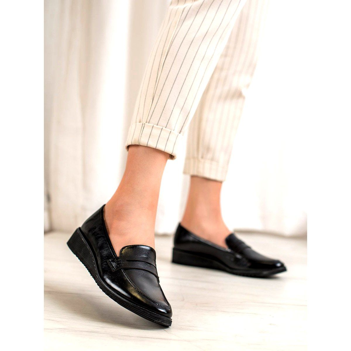 Goodin Czarne Mokasyny Na Koturnie Shoes Loafers Mule Shoe