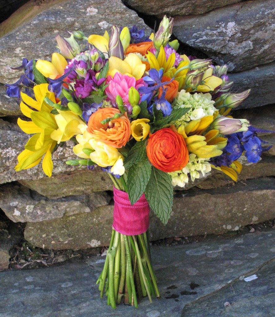 Vermont Wedding Flowers: Hydrangea, Magenta Stock, Dahlias