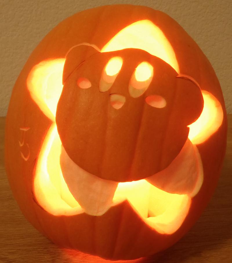 pumpkin template kirby  The light shot of the Kirby pumpkin. Man that pink fluffball ...