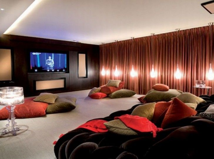 Ordinaire Oversized Floor Pillows: Stylish Home Theater Design Ideas With Orange And  Brown Oversized Floor Pillows