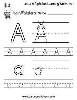 Preschool Letter A Alphabet Learning Worksheet | Alessandro\'s first ...