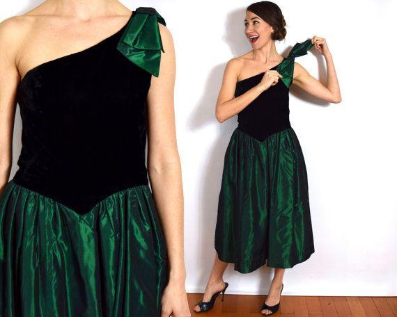 80s Black & Green Prom Dress | One Shoulder Party Dress | Velvet ...
