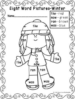 Sight Word Pictures Winter Printable Activities Freebie More Than Math By Mo Teacherspayteachers Winter Kindergarten Sight Words Kindergarten Sight Words