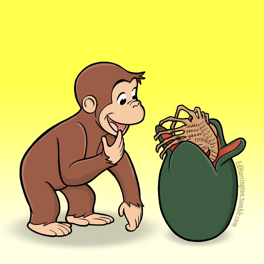 Krafty kidz center curious george coloring pages - Curious George Alien S Facehugger By Ed Harrington