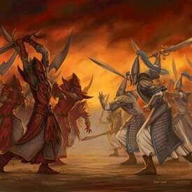 Swordmasters in battle