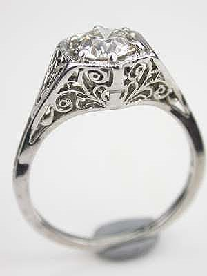 1920 S Antique Diamond Engagement Ring This Is Set In An Architecturally Stunning Pierced Filigree Mounting A Curling
