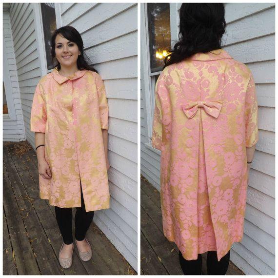 Vintage 60s Brocade Floral Dress Coat Evening Jacket by soulrust, $79.99