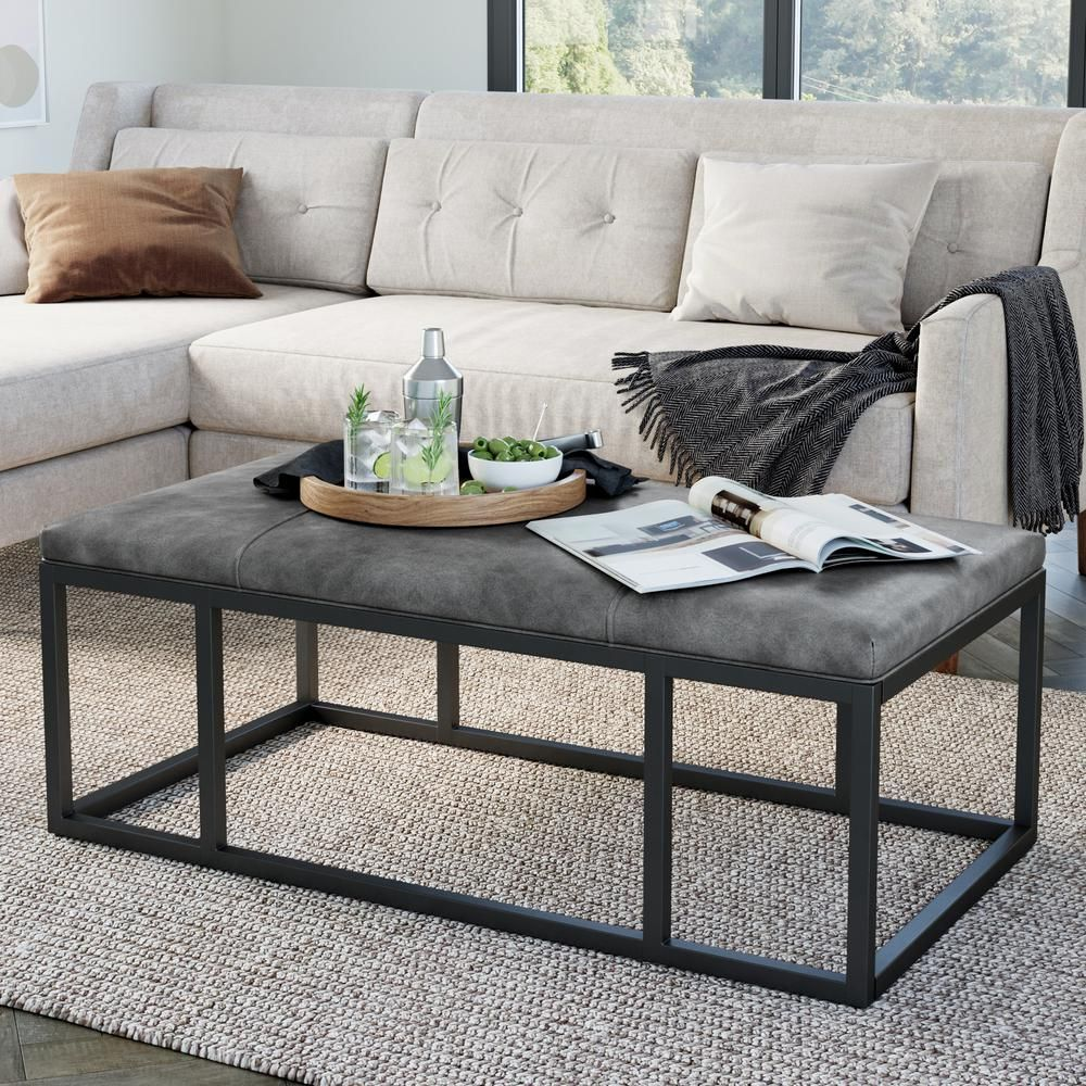 Nathan James Nelson Gray Faux Leather Tuft And Black Metal Frame Entryway Bench Ottoman Style In 2020 Ottoman Table Coffee Table Coffee Table Metal Frame [ 1000 x 1000 Pixel ]