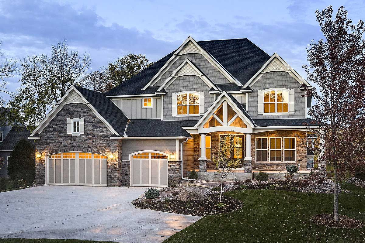 Modern Storybook Craftsman House Plan with 2 Story