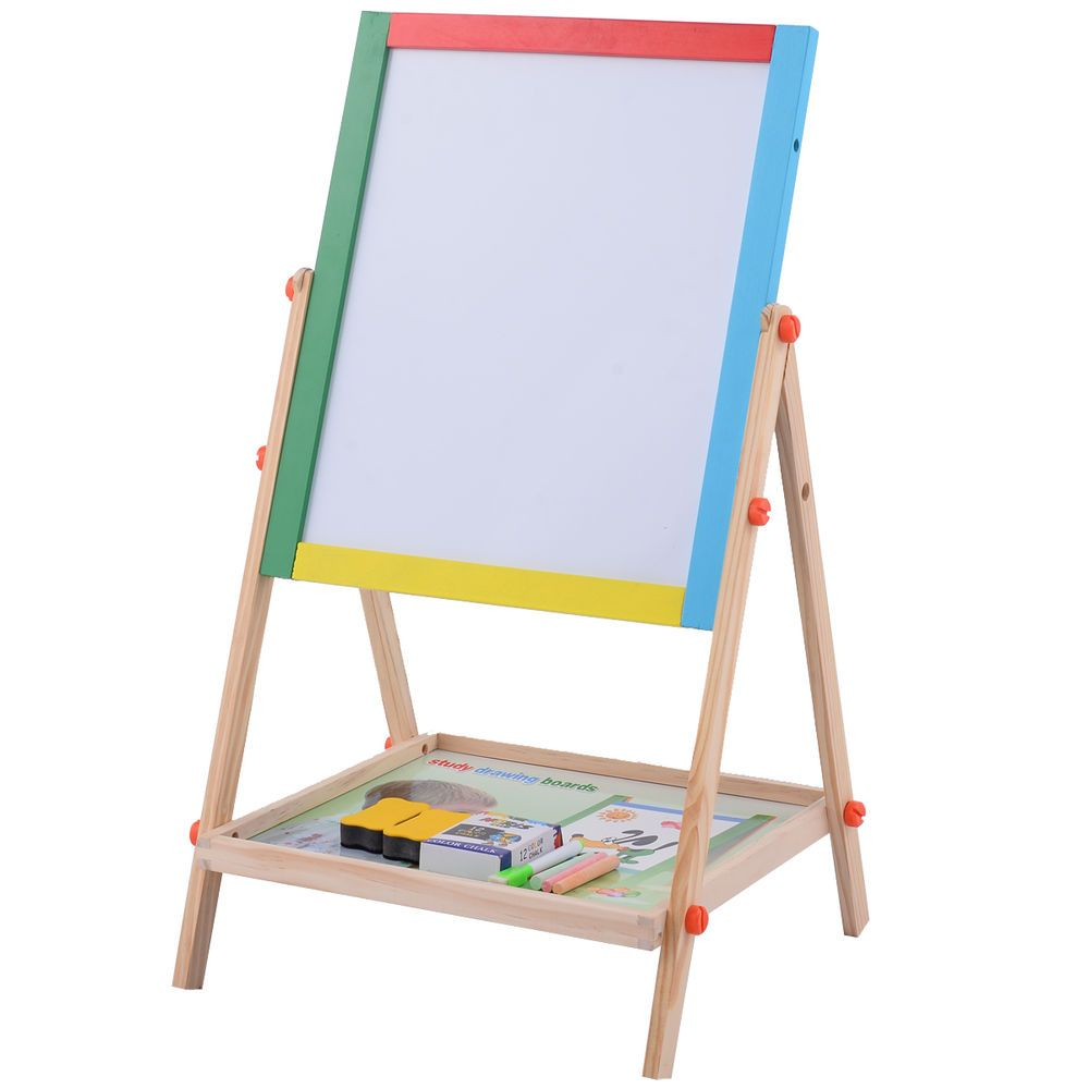 Table drawing for kids - Adjustable 2 In 1 Wooden Easel Chalk Drawing Board Black White Children Kids