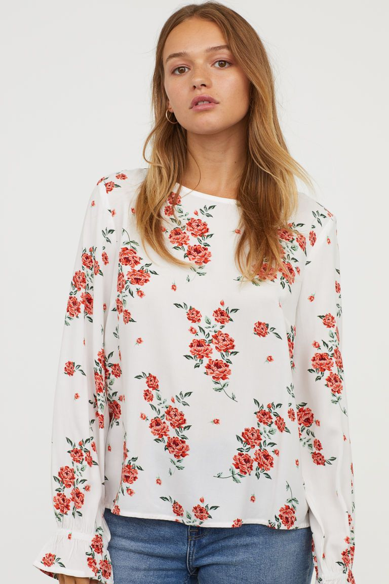 7af8f5b77531 Patterned viscose blouse - White Floral - Ladies