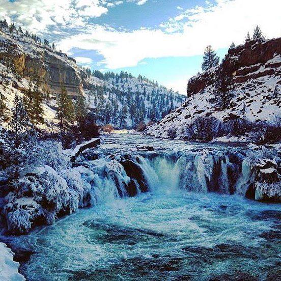 Winter at Steelhead Falls in Central Oregon ------------ @sourceweekly