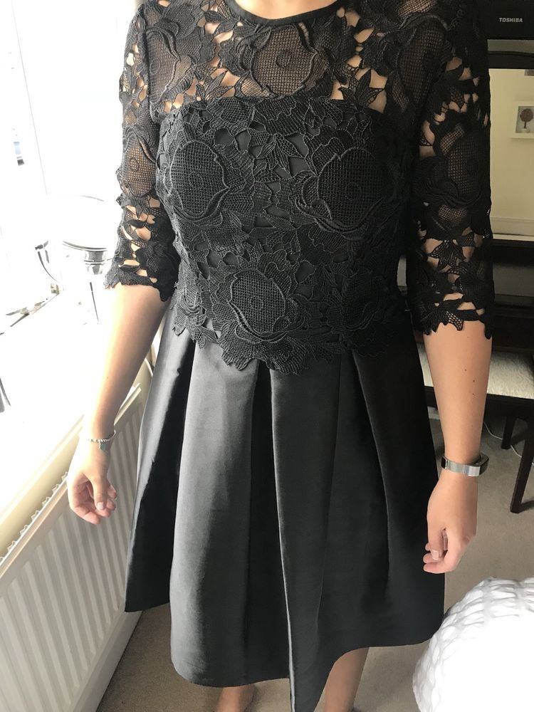 Ted Baker Black Dress Size 3 12 Lace Bodice Rrp 279 New